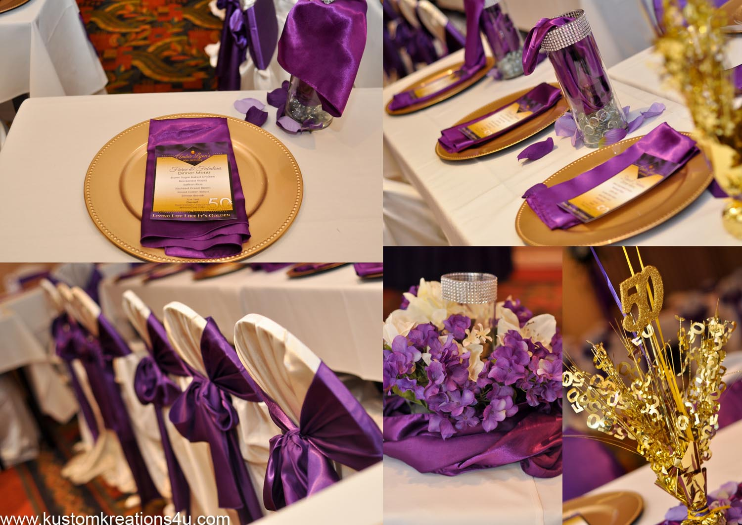 Purple and gold 50th birthday celebration kustom kreations for 50th party decoration
